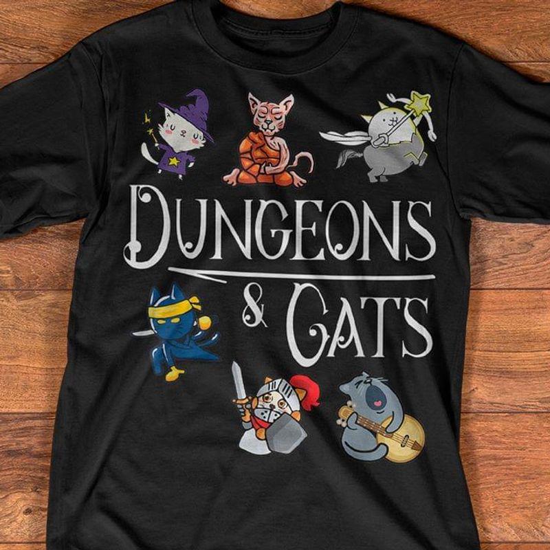 Meow Lover Dungeons & Cat Black T Shirt Men/ Woman S-6XL Cotton
