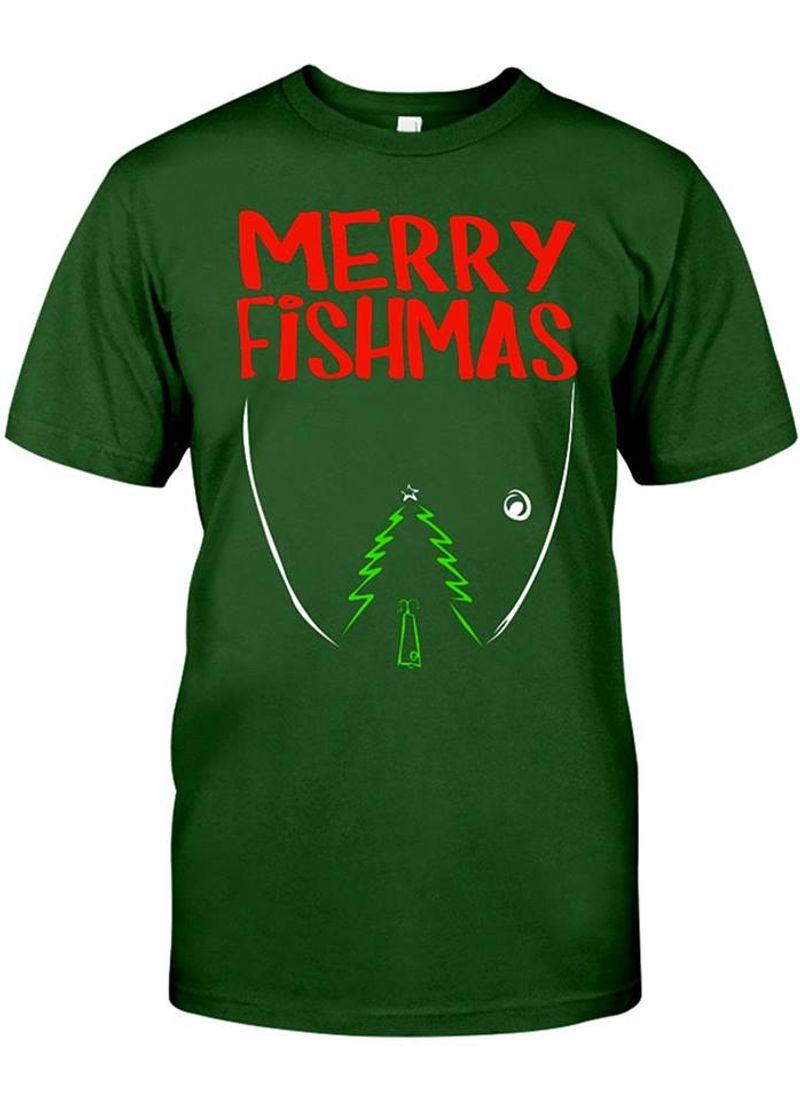 Merry Fishmas Christmas Tree T-shirt Green A2
