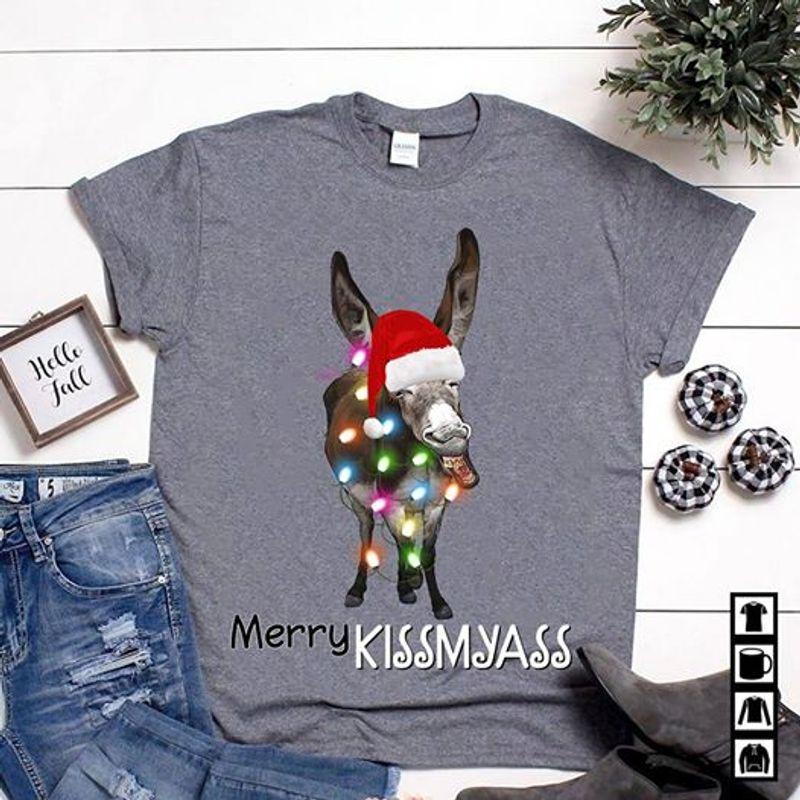 Merry Kissmyass Donkey Hat Christmas And Light T-Shirt Grey A4