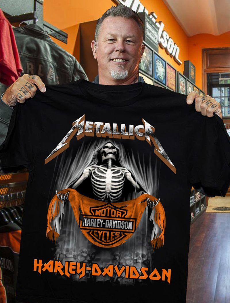 Metallica Heavy Mental Motorcycles Harley Davidson Skeleton Men Black Tee Shirt