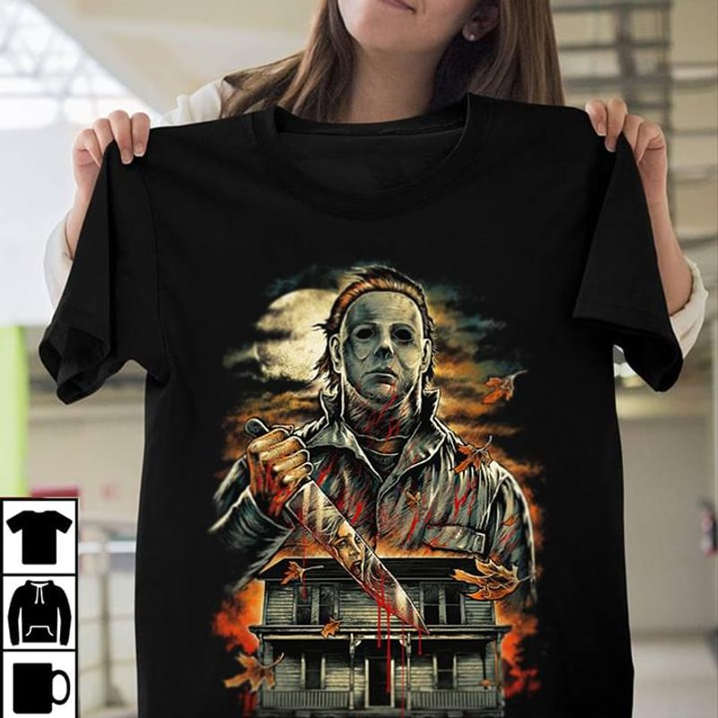Michael Myers Halloween Mast Murder Horror Movies Bloody Knife Black T Shirt Men And Women S-6XL Cotton