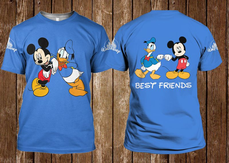 Mickey And Donald Best Friends Blue T Shirt