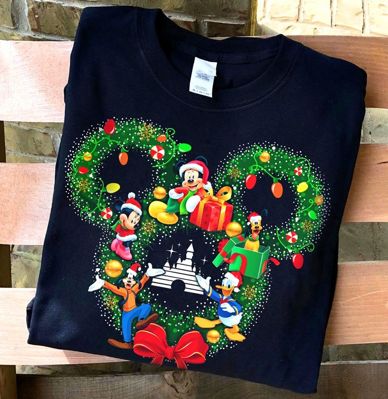 Mickey Mary Chrismas Tshirt Black A2