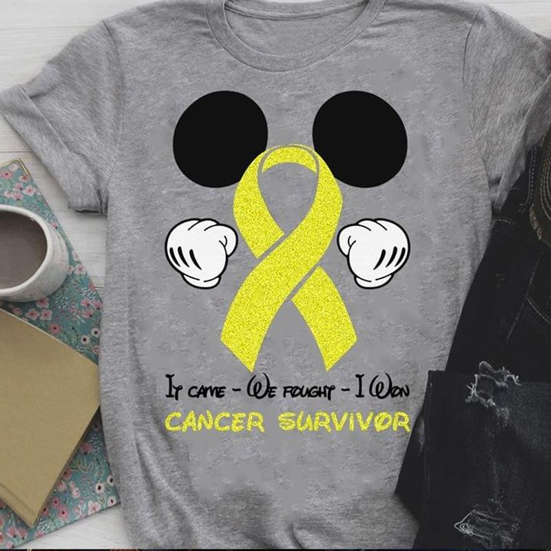 Mickey Mouse If Came We Fought I Won Cancer Survivor Grey T Shirt Men/ Woman S-6XL Cotton