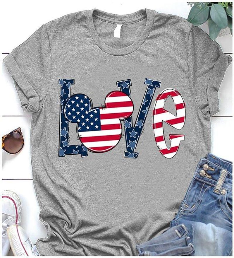 Mickey Mouse Love American Flag Independence Day Gray T Shirt Men/ Woman S-6XL Cotton