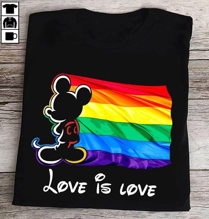 Mickey Mouse Love Is Love No Matter Who You Are Price Flag Photo Gift For Pride Month Black T Shirt Men/ Woman S-6XL Cotton