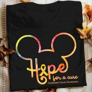 Mickey Mouse Lovers Hope For A Cure Childhood Cancer Awareness T Shirt S-6XL Mens And Women Clothing