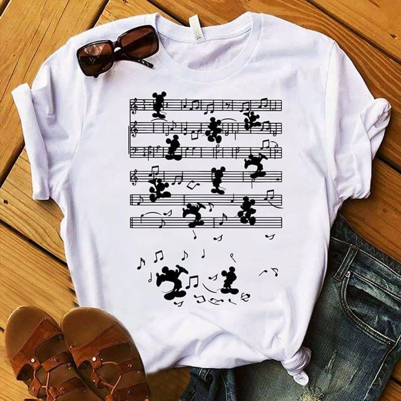 Mickey Mouse Staff Music Notes Awesome Gift For Daughter Wearing Out The Street White Shirt