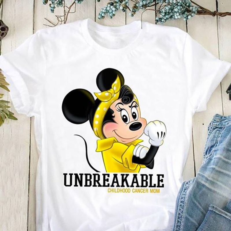 Mickey Unbreakable Chilohoo Cancer Mom   T Shirt White B1