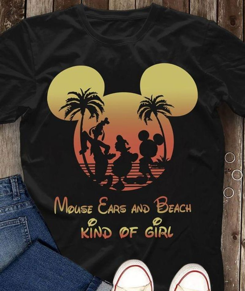Mlckey Mouse Ears And Beach Kind Of Girl Gift For Cartoon Lovers Black T Shirt Men And Women S-6XL Cotton