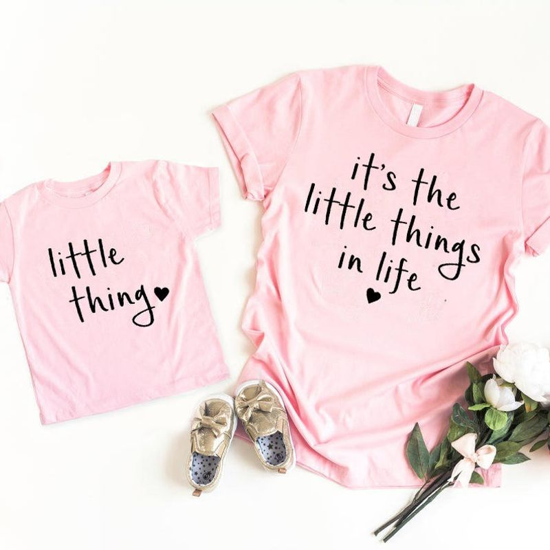 Mommy And Me Tees   Its The Little Things In Life One Blessed Mama  T-shirt Pink