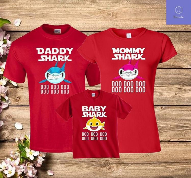 Mommy Shark Daddy Baby SEA Family Matching T-Shirt