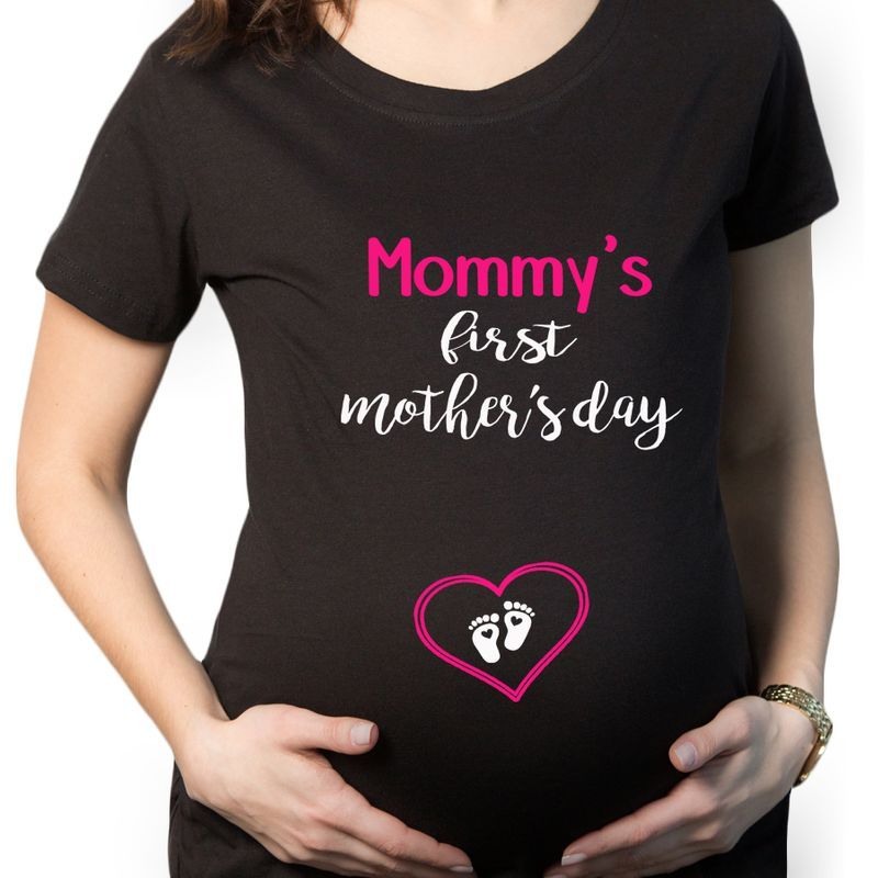 Mommys First Mothers Day  T-Shirt Black