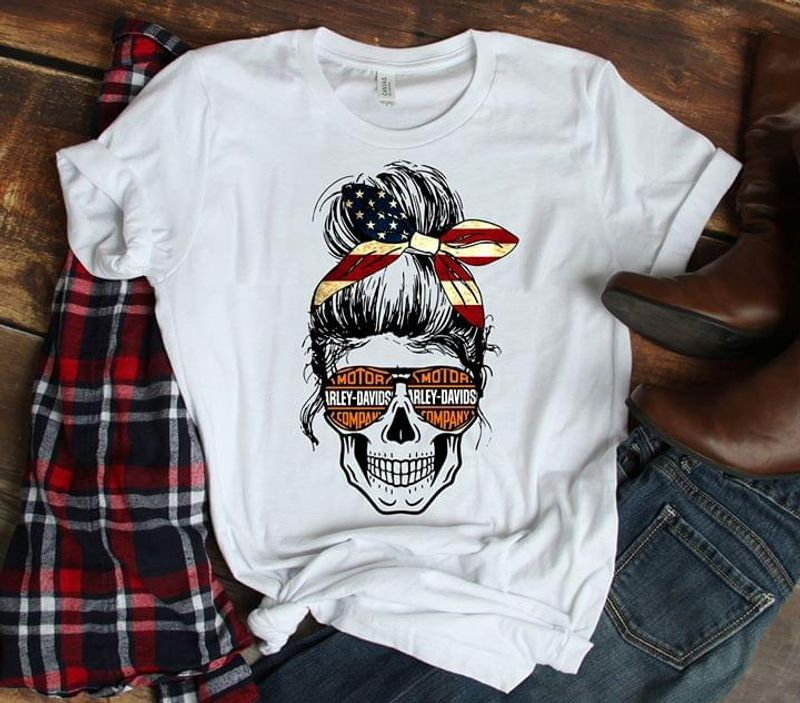 Motor Harley Davids Company Girl Skull White T Shirt Men/ Woman S-6XL Cotton