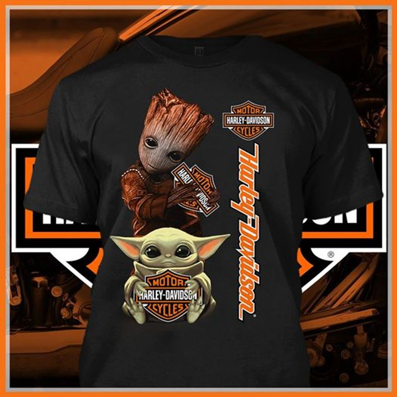 Motor Harley Davidsm Baby Yoda And Baby Groot T-shirt Black A8