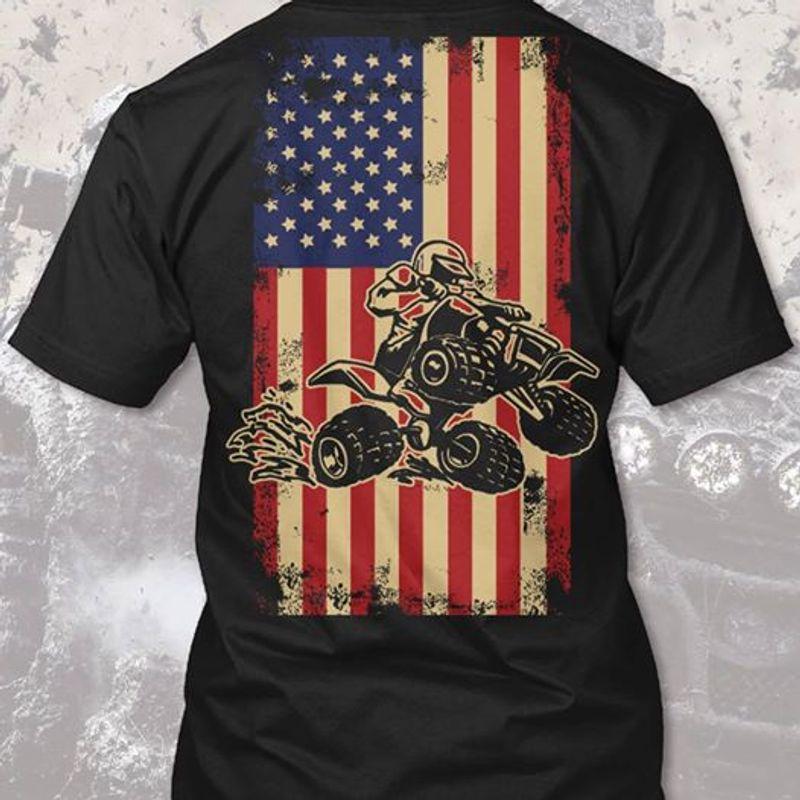 Motorcycle Usa Flag T Shirt Black A5