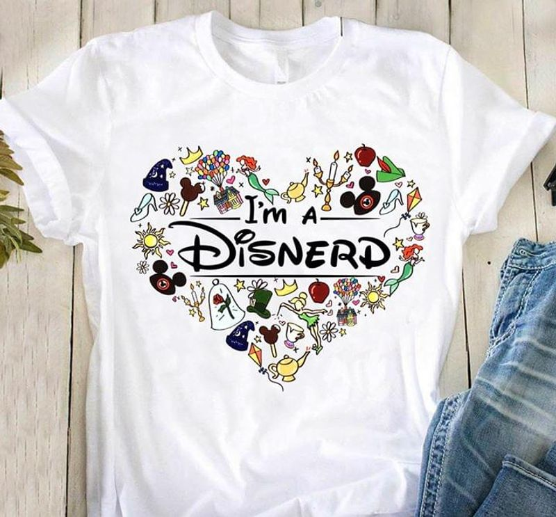 Movies Fairy Tale Fans I'M A Disnerd Mickey Mouse Alice In Wonderland White T Shirt Men And Women S-6XL Cotton