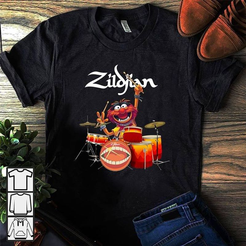 Muppet Drummer And Sabian T Shirt Black S-6XL Men And Women Clothing