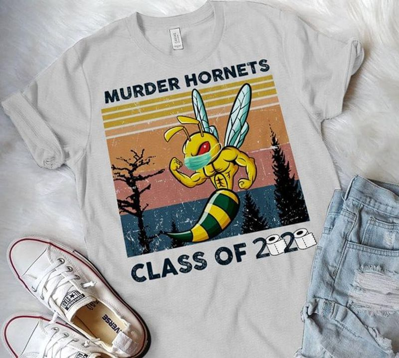 Murder Hornets Class Of 2020 Vintage Retro Style Toilet Paper Rolls Awesome 2020 Gift For Murder Hornets Lovers Grey T Shirt S-6xl Mens And Women Clothing