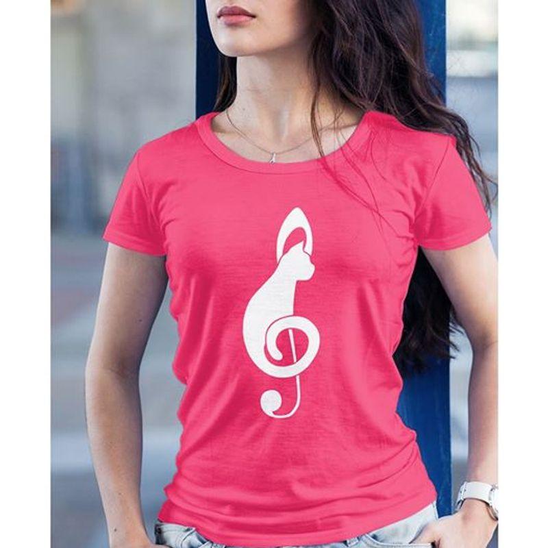Music Note Cat T-shirt Pink A4
