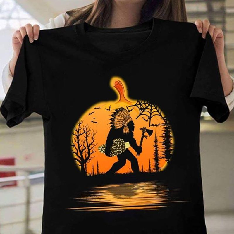 Native America Sasquatch Pumpkin Halloween Style Black T Shirt Men And Women S-6XL Cotton