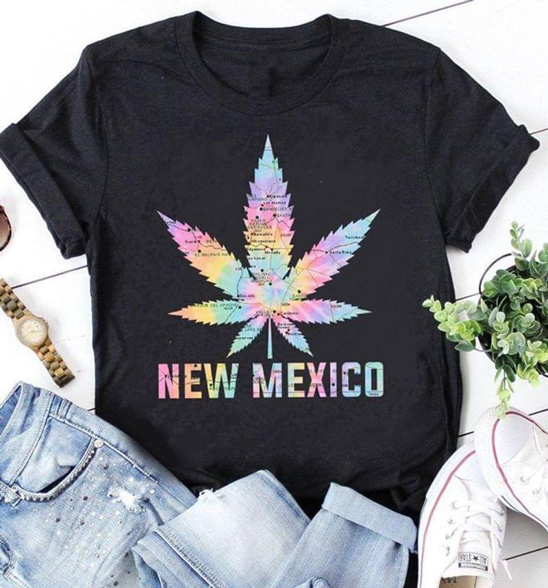 New Mexico Cannabis Leaf Interesting Gift For Girl Wearing On Party Night Black T Shirt Men And Women S-6XL Cotton