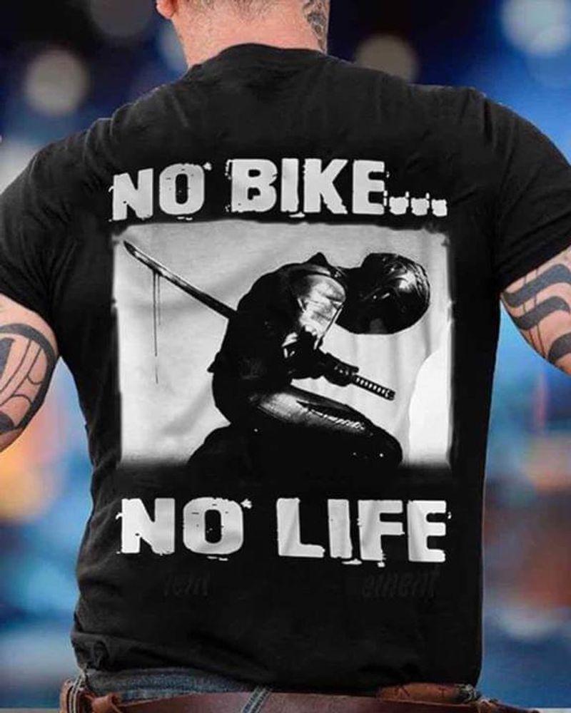 No Bike No Life Suicide Seppuku Katana Strongly Simple Black  T Shirt Men/ Woman S-6XL Cotton