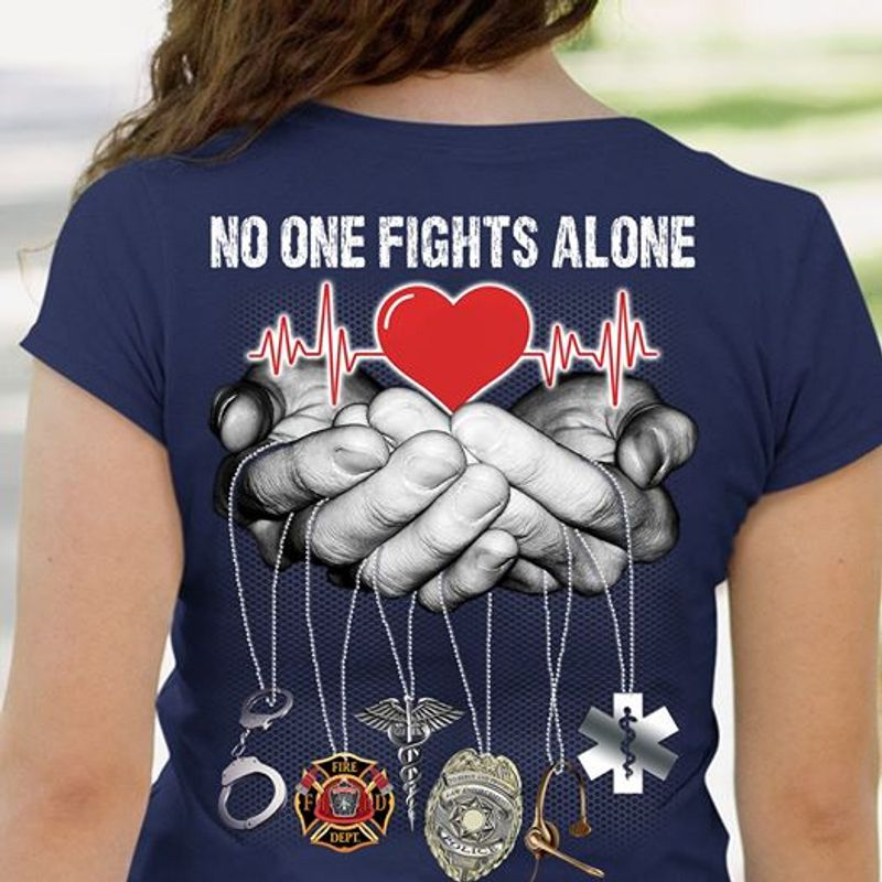 No One Fights Alone Red Heart Beat On Hands T Shirt Navy B5