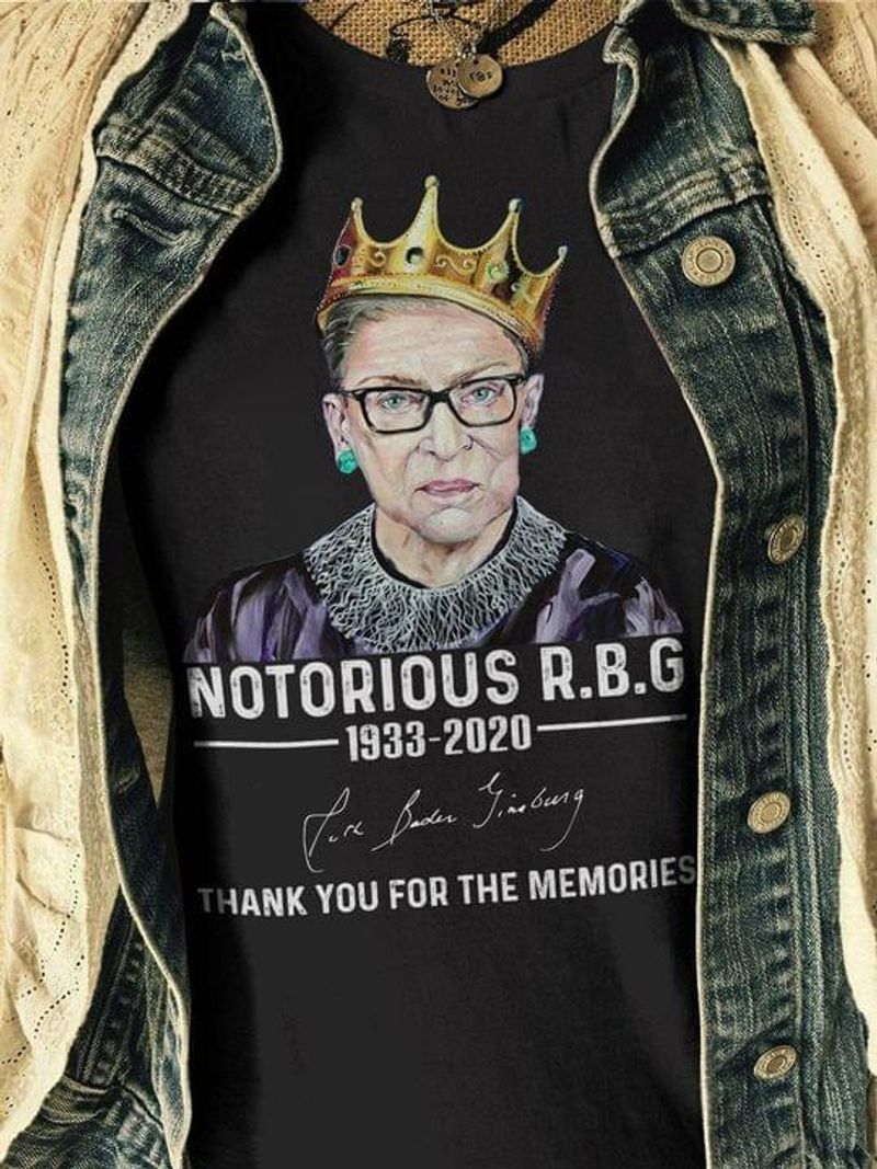 Notorious Rbg 1933 2020 Signature Thank You For The Memories Fight For Women Rights Black T Shirt Men And Women S-6XL Cotton