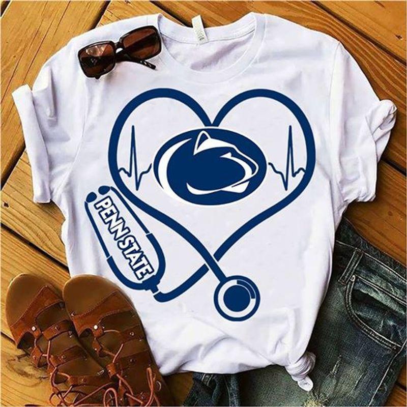 Nurse Heartbeat Penn State T Shirt White A5