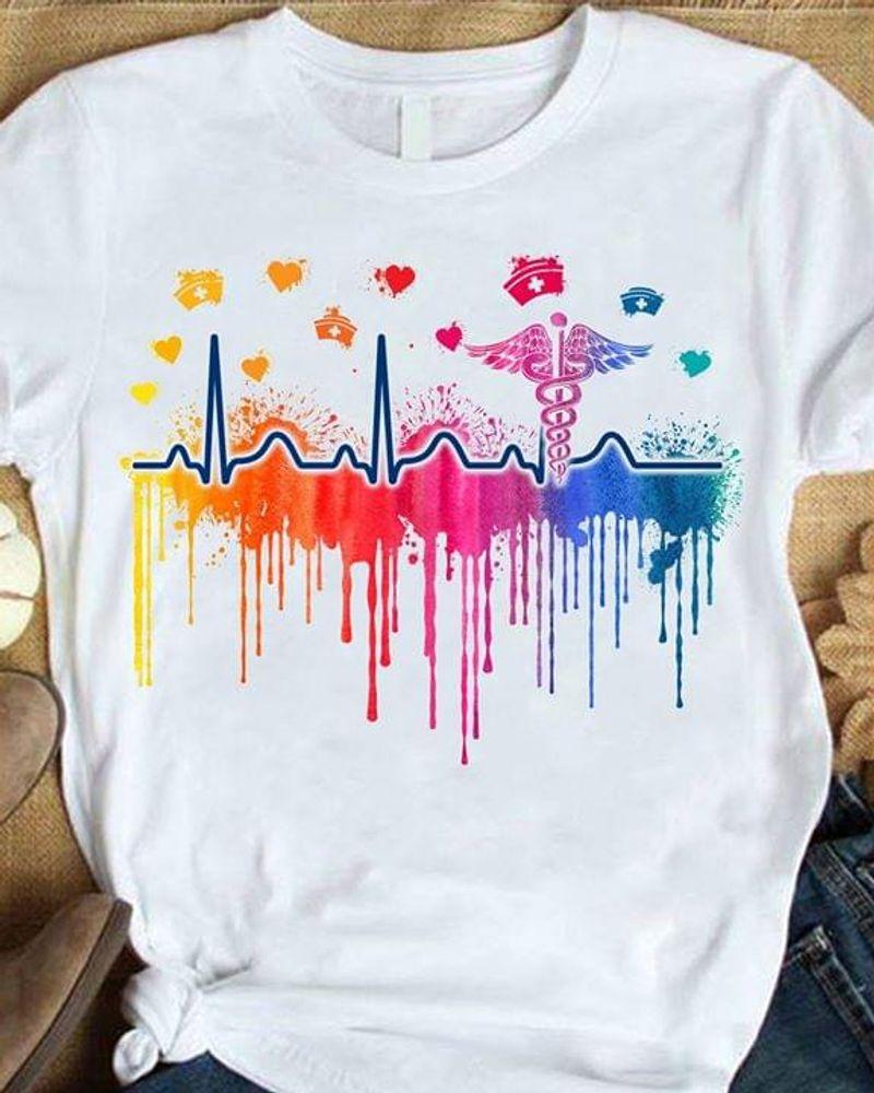 Nurse Life Heartbeat Nurse Emblem Nurse Cap Pattern Watercolor Graphic WhiteT Shirt Men/ Woman S-6XL Cotton