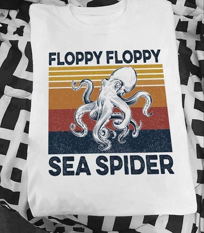 Octopus Floppy Floppy Sea Spider Vintage Retro Design For Octopus Lover White T Shirt Men And Women S-6XL Cotton