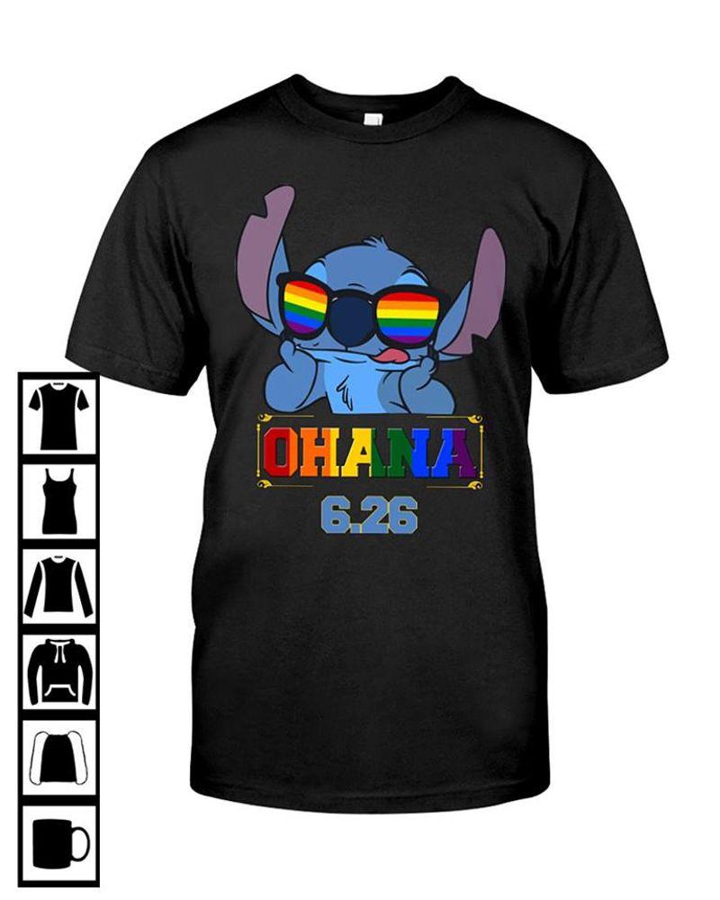 Ohana 626  Stitch Tshirt Black A2