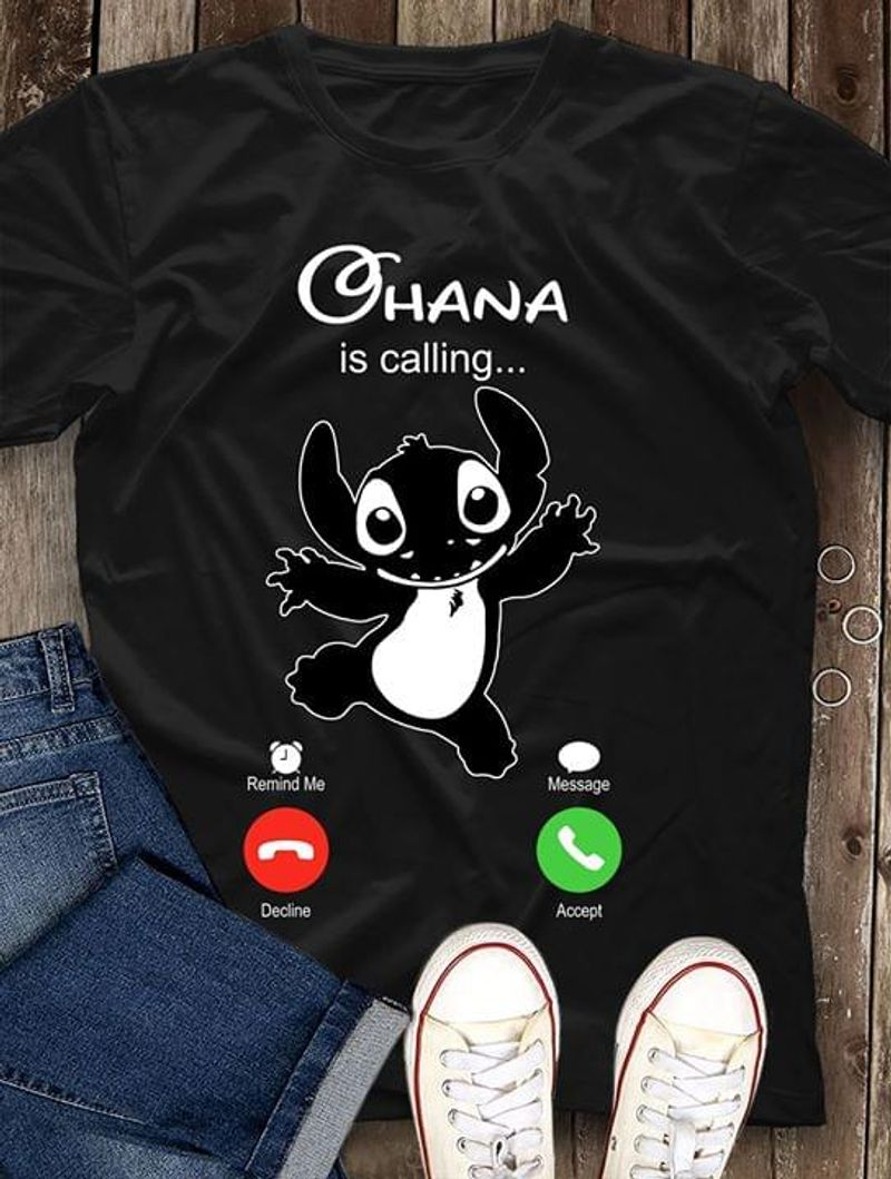 Ohana Family Is Calling Stitch Iphone Calling Screen Stitch And Lilo Movie Black T Shirt Men And Women S-6XL Cotton
