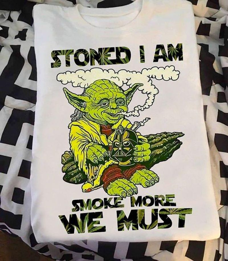Old Yoda Smoking Cannabis Darth Vader Head Stoned I Am Smoke More We Must White T Shirt Men And Women S-6XL Cotton