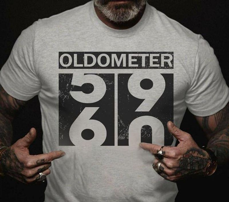 Oldometer Odometer Funny 60th Birthday Gift Sport Grey T Shirt Men And Women S-6XL Cotton