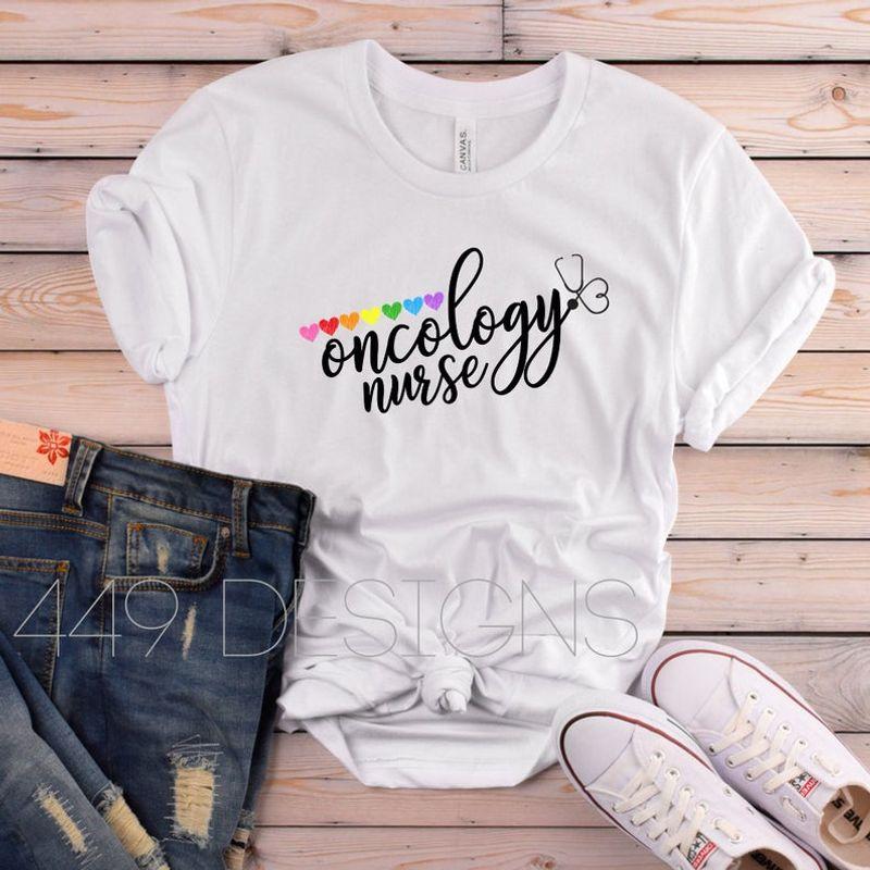 Oncology Nurse Hearts Short T-Shirt Nurse Shirt White