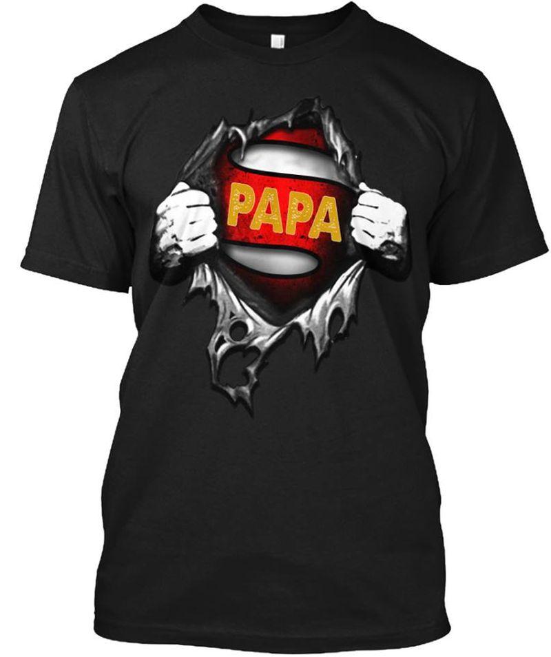 PaPa Super Hero Torn TShirt Black  A2