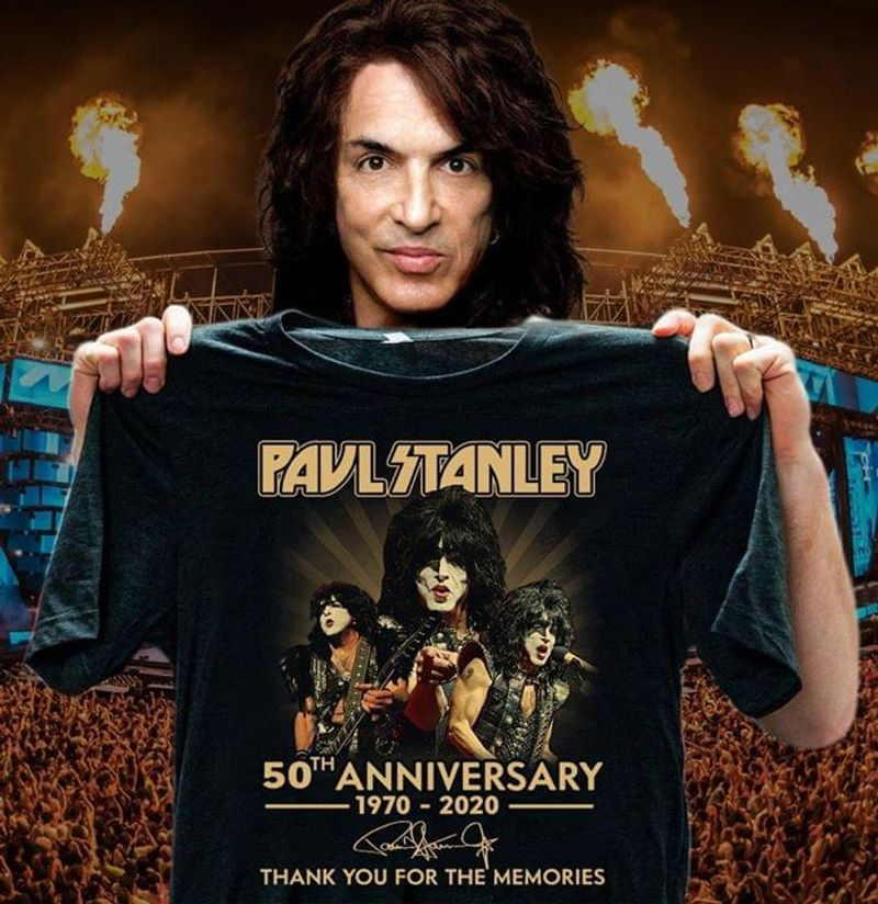 Paul Stanley 50th Anniversary 1970-2020 Thank You For The Memories Signature Black T Shirt Men/ Woman S-6XL Cotton