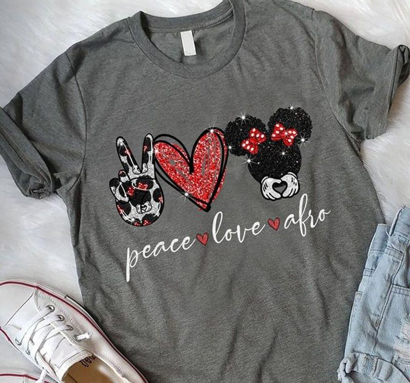 Peace Love Afro Mickey Mouse With Ribbon Black Girl Proud Black Dark Heather T Shirt Men/ Woman S-6XL Cotton