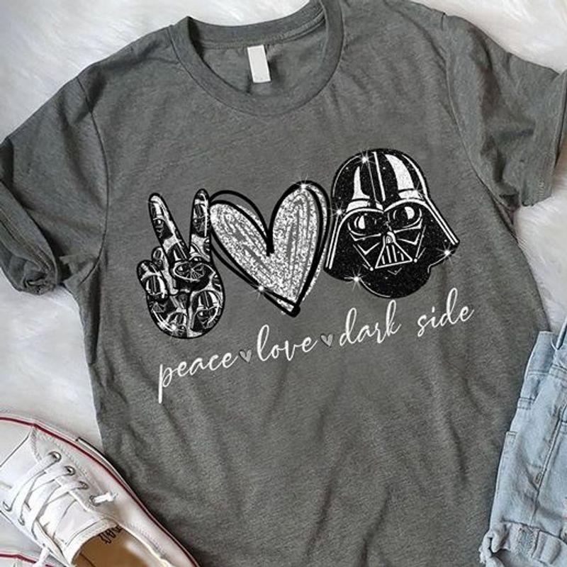 Peace Love Dark Side Darth Vader  T-shirt Grey