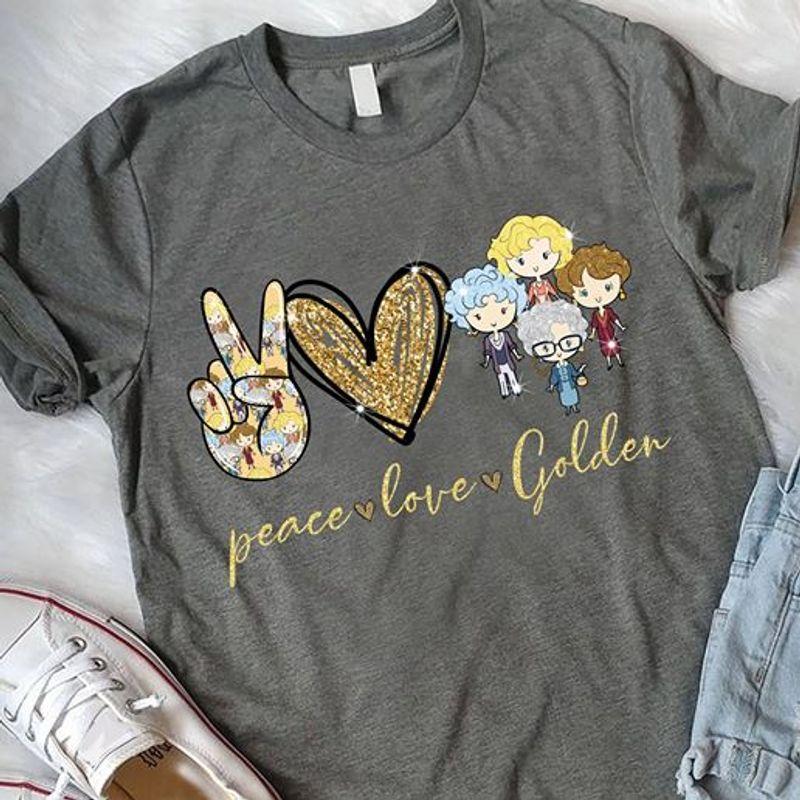 Peace Love Golden T-shirt Grey A8