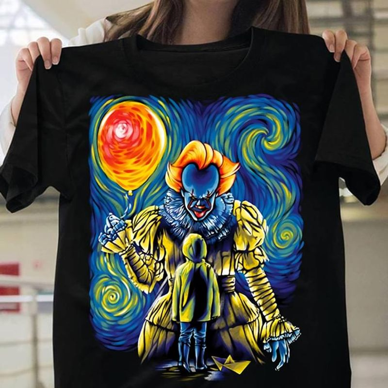 Pennywise Van Gogh Style It We All Float Up There Horror Movie Black T Shirt Men And Women S-6XL Cotton