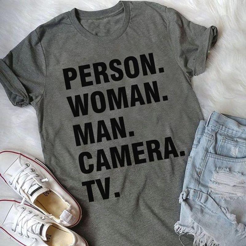 Person Woman Man Camera Tv Speaking Society Dark Heather Dark Heather T Shirt Men And Women S-6XL Cotton