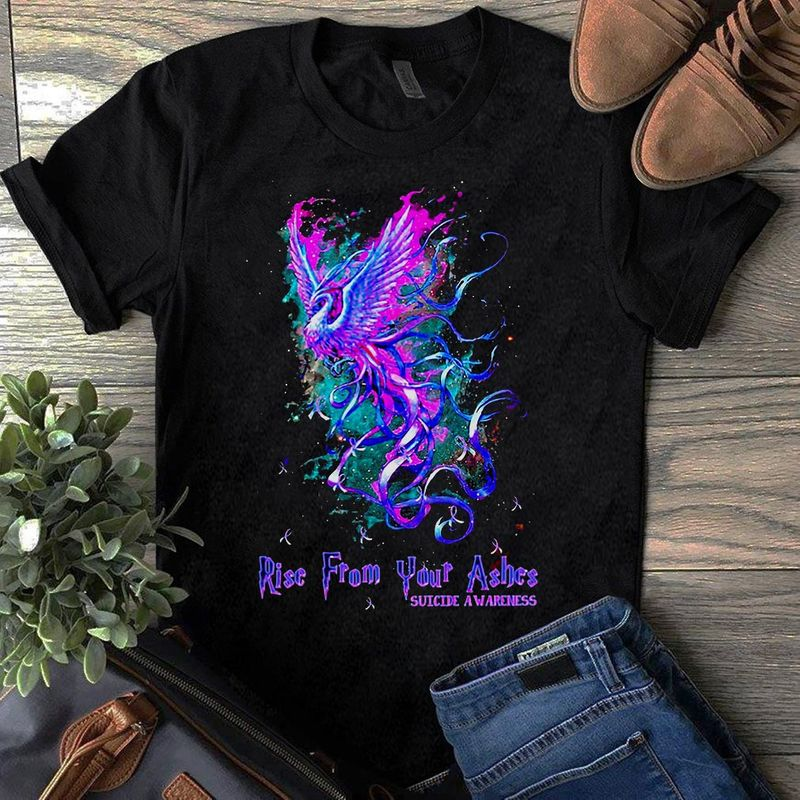 Phoenix Rise From Your Ashes Suicide Awareness T-shirt Black