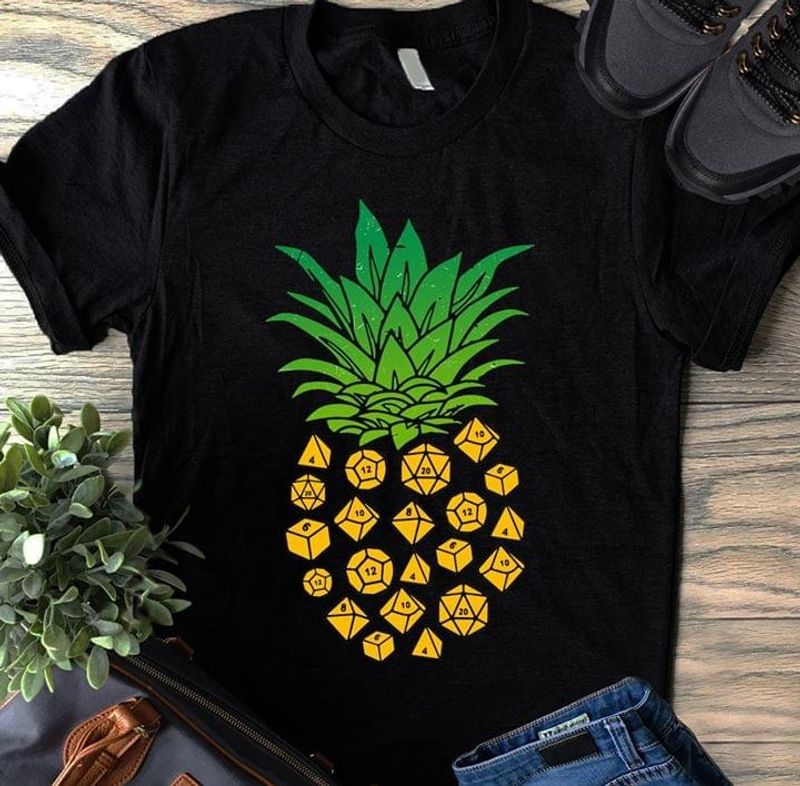 Pineapple Dungeons Dragons 20 Sided Die Cute Summer Vacation BlackT Shirt Men/ Woman S-6XL Cotton