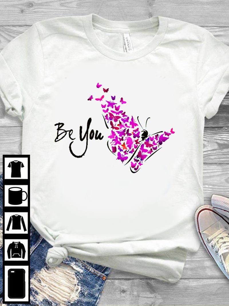 Pink Butterflies Be You  T Shirt White B8