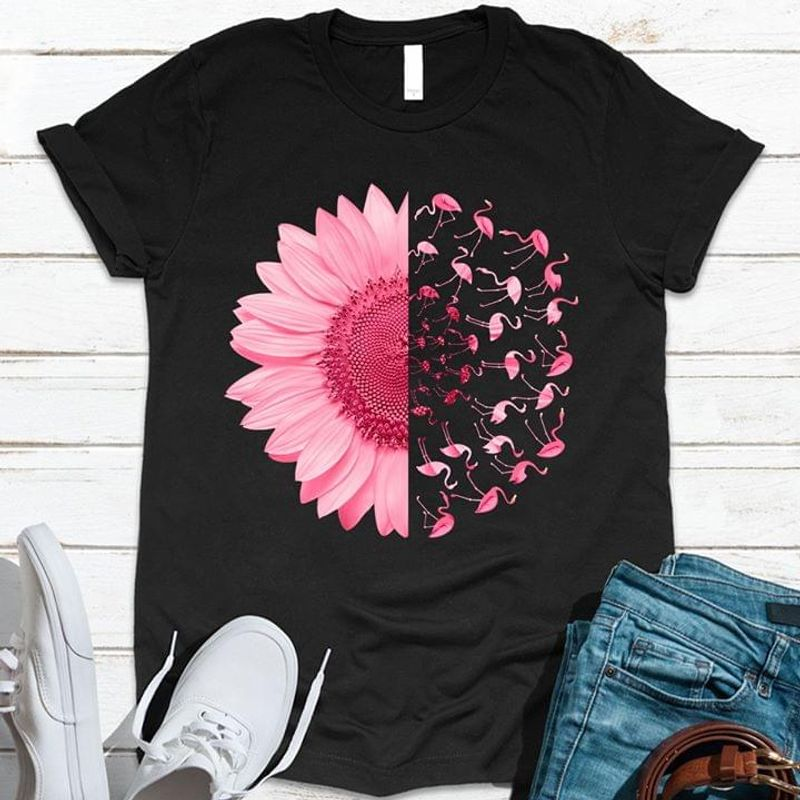 Pink Daisy Flamingo Ideal Gift Shirt For Flamingo Lovers Gift For Girls Women Black T Shirt Men And Women S-6XL Cotton