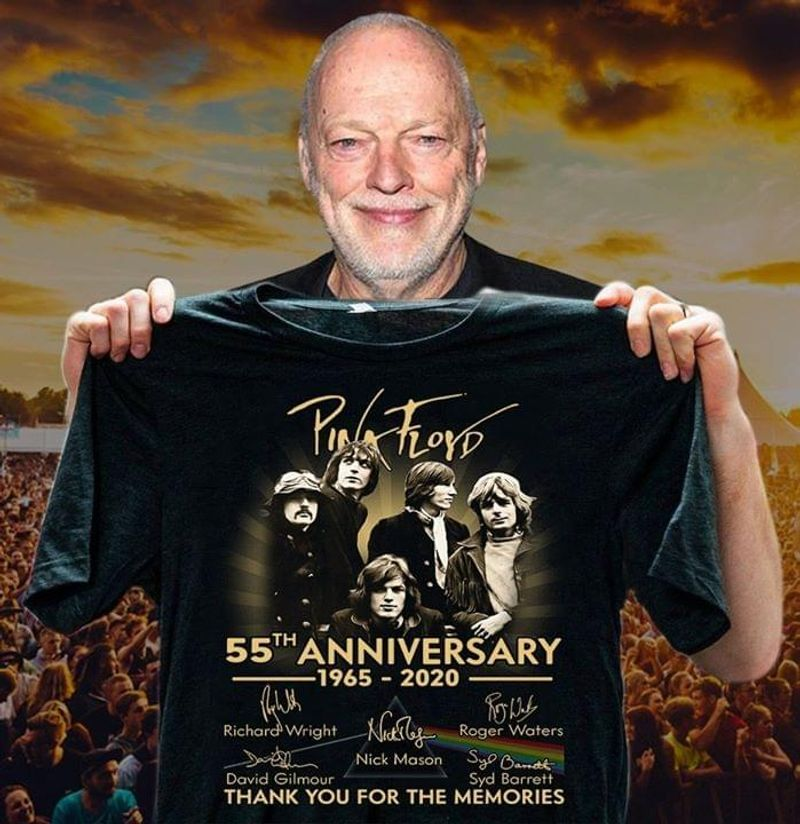 Pink Floyd 55th Anniversary 1965 2020 Thank You For The Memories Signatures T-shirt Black