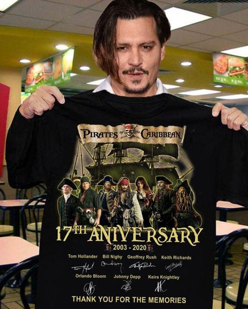 Pirates Caribbean Signature 17th Anniversary 2003-2020 Great Gift For Fans Black T Shirt Men And Women S-6XL Cotton